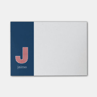 Monogram Letter J with Navy and Red Polka Dots Sticky Note