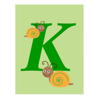 Monogram letter K brian the snail kids postcard