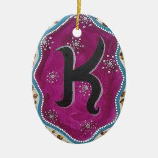 Monogram Letter K Ceramic Oval Ornament