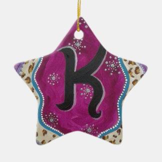 Monogram Letter K Ceramic Star Ornament