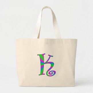 Monogram Letter K Fun Large Tote Bag
