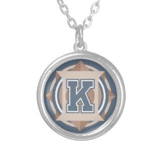 "Monogram Letter ""K"" Initial Round Pendant Necklace"