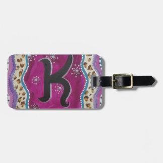 Monogram Letter K Luggage Tag