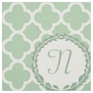 Monogram Letter Light Sage Green Wreath Quatrefoil Fabric