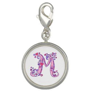 Monogram letter M art pink purple charm