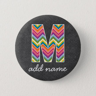 Monogram Letter M - Chalkboard and Bright Chevrons 2 Inch Round Button