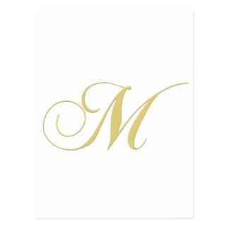 Monogram Letter M Golden Single Postcard