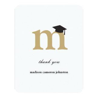 "Monogram Letter M Modern Graduation Thank You Card 4.25"" X 5.5"" Invitation Card"