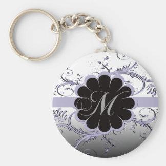 Monogram Letter M Violet Keychain