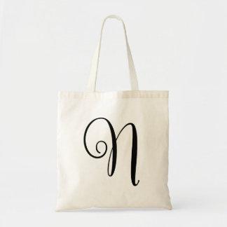 "Monogram Letter ""N"" Budget Tote-Canvas Tote Bag"