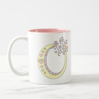 Monogram letter O hearts flowers art mug