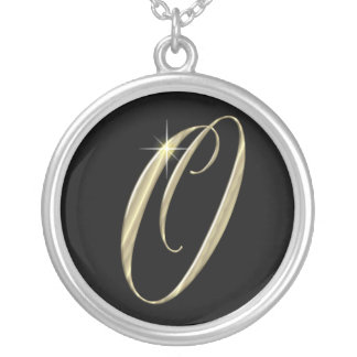 Monogram Letter O initial Necklace Sterling Silver