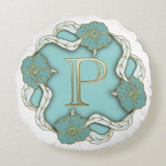 Monogram Letter P Round Pillow