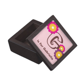 Monogram letter pink purple mod flower trinket box premium trinket boxes