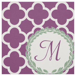 Monogram Letter Purple Green Laurel Quatrefoil Fabric