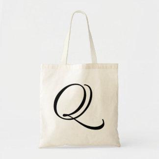 "Monogram Letter ""Q"" Budget Tote-Canvas Tote Bag"