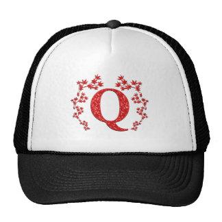 Monogram Letter Q Red Leaves Trucker Hats