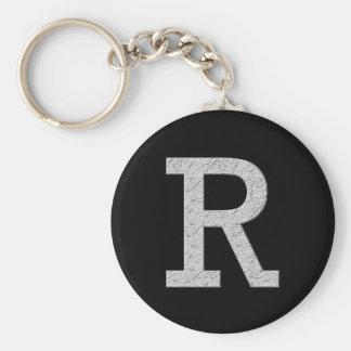 Monogram Letter R Basic Round Button Keychain