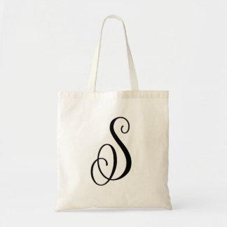 "Monogram Letter ""S"" Budget Tote-Canvas Tote Bag"