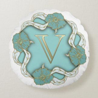 Monogram Letter V Round Pillow