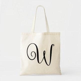 "Monogram Letter ""W"" Budget Tote-Canvas Tote Bag"
