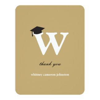 "Monogram Letter W Modern Graduation Thank You Card 4.25"" X 5.5"" Invitation Card"