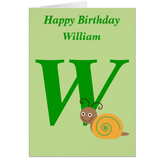 Monogram letter W personalised name kids card