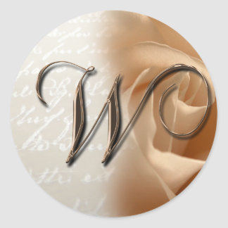 Monogram Letter W  Wedding Envelope Sticker