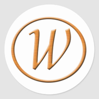 Monogram Letter W Wood look Classic Round Sticker