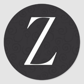 Monogram Letter Z Classic Round Sticker