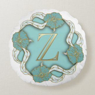 Monogram Letter Z Round Pillow