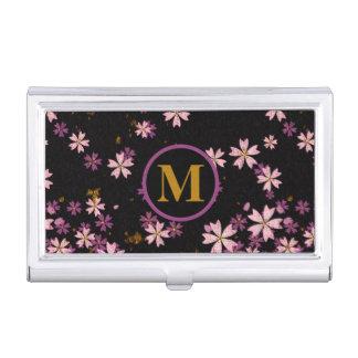 Monogram Light and Dark Lavender Flowers on Black Business Card Holder