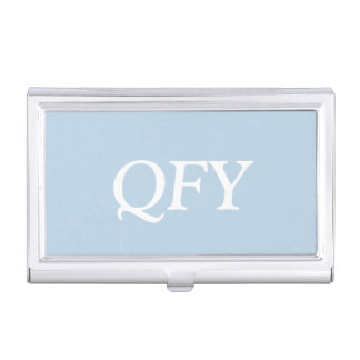 Monogram Light Baby Blue Chic Complementary Color Business Card Holder