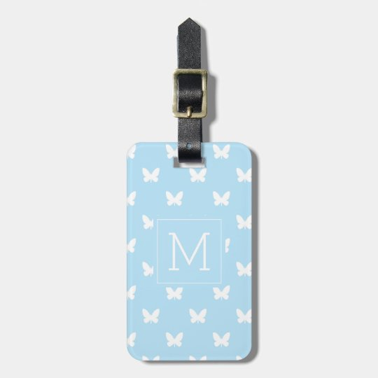 Monogram | Light Blue Butterflies Luggage Tag