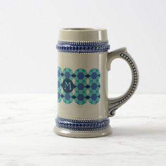 Monogram light dark blue pattern coffee mug