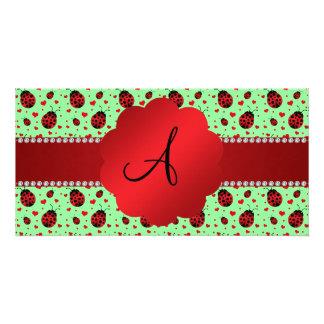 Monogram light green ladybugs hearts photo card
