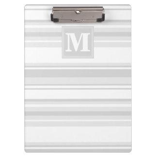 Monogram light grey stripes clipboard