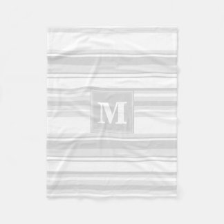 Monogram light grey stripes fleece blanket