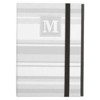 Monogram light grey stripes iPad air cover