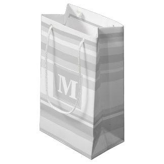 Monogram light grey stripes small gift bag