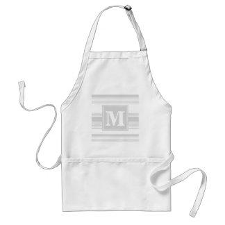 Monogram light grey stripes standard apron