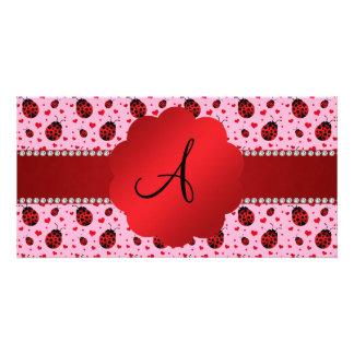 Monogram light pink ladybugs hearts custom photo card