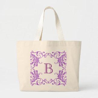 Monogram Lilac Damask Large Tote Bag