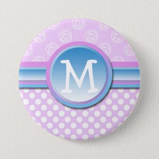 Monogram Lilac Polka Dot 3 Inch Round Button