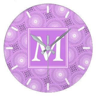 Monogram lilac purple circles pattern large clock
