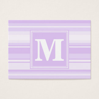 Monogram lilac stripes business card