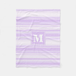 Monogram lilac stripes fleece blanket