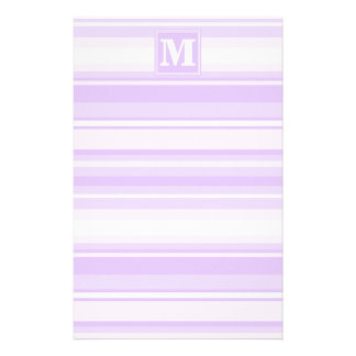 Monogram lilac stripes personalized stationery
