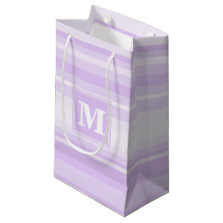 Monogram lilac stripes small gift bag