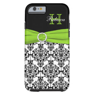 Monogram Lime Black White Damask iPhone 6 case Vib